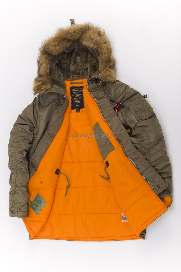 Куртка парка N-3B Slim Fit Vintage Olive/Orange NEW