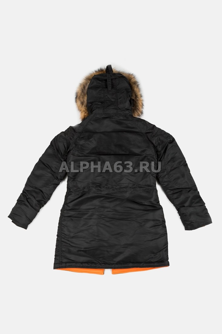 Женская куртка N-3B W Parka Black\Orange Nat.Fur