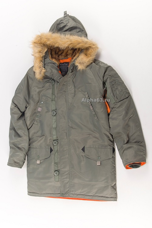 Куртка парка Husky long olive/orange