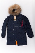 Женская куртка N-3B W Parka Replica Blue\Orange Nat.Fur