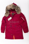 Женская куртка N-3B W Parka Commander Red/ Nat.Fur