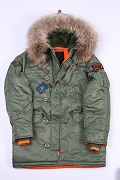 Парка N-3B Slim Fit Nat.fur olive/orange