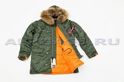 Куртка Аляска Slim Fit N-3B Sage Green/Orange Nat. Fur