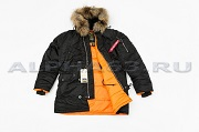 Куртка Аляска Slim Fit N-3B Black/Orange Nat. Fur