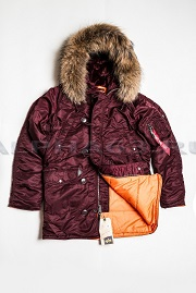 Куртка Аляска Slim Fit N-3B Maroon/Orange Nat. Fur