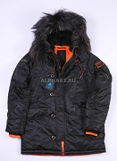 Парка N-3B Slim Fit Nat.fur black/orange