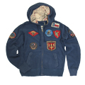 Толстовка ''Vintage Aviation Fur Top Gun Zip-Up Military Patches''Navy